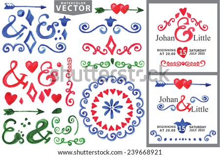 Doodles frame,border,hearts,arrow,love decor elements set.For design template,invitation.Children's hand drawing style,Watercolor Hand sketched.For wedding,Valentine day,holiday,birthday,Easter.Vector - stock vector