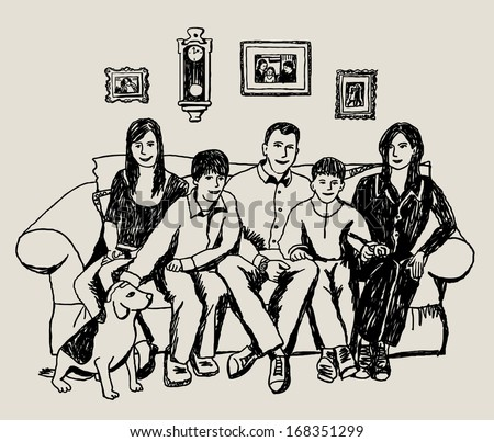Doodles happy family at home The doodles illustration with mother, father, daughter, two son and dog. Black lines on beige background. Vector illustration.  - stock vector