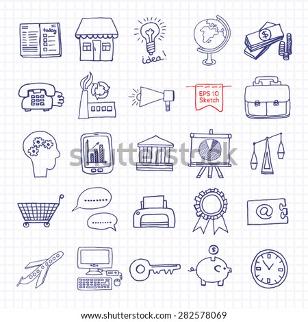 Doodles icons concept for business, finance and communication. Vector illustration.