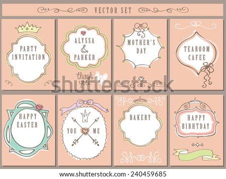 Doodles labels,badges,frame,arrow,hearts,crown,love decor elements set.For design templates,invitations,card.Children hand drawing style. For weddings,Valentine day,holiday,easter,menu,birthday.Vector - stock vector
