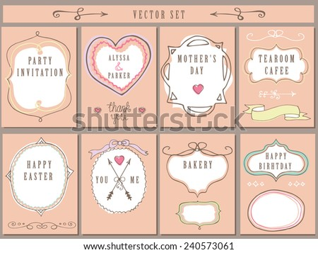 Doodles labels, badges,frame,arrow,hearts,crown,love decor elements set. For design templates,invitations,card.Children hand drawing style.  - stock vector