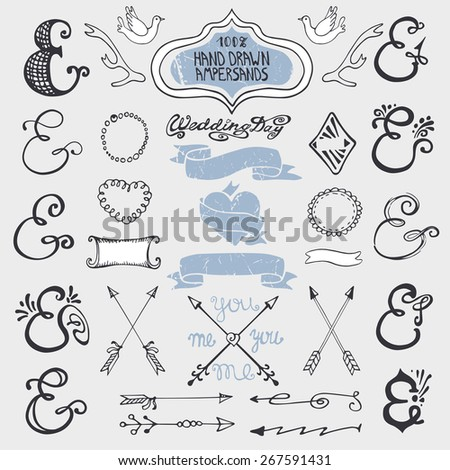 Doodles  lettering ampersands,catchwords,arrows,wedding romantic decor elements set.Baby hand drawing style,sketchy vintage vector.Wedding,Valentines day,holidays,birthday,design templates,invitations - stock vector