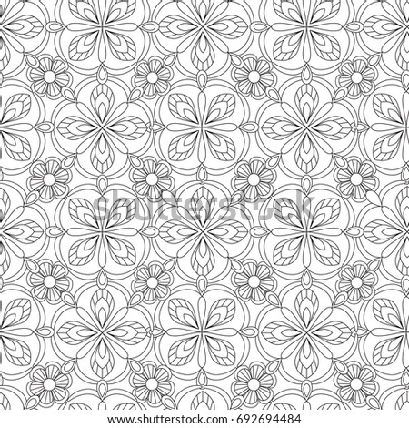 Doodles Mandala Seamless Pattern Adult Coloring Stock Vector ...