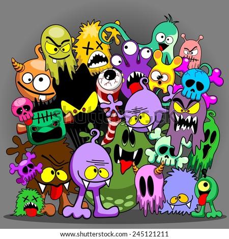 Doodles Monsters Saga - stock vector