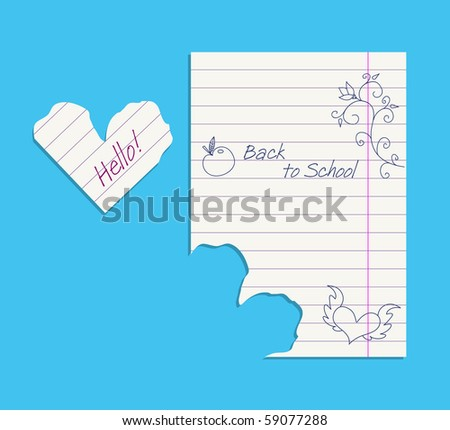 Doodles on notepaper and paper heart, editable vector illustration - stock vector
