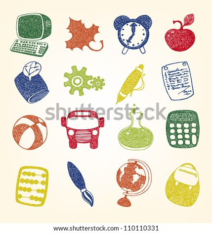 Doodles school and education icons - stock vector