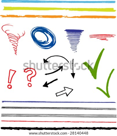 Doodles, scribbles, arrows, lines and highlight marks - stock vector