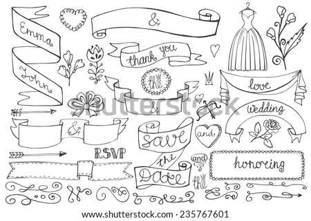 Doodles swirl border,arrow,heart,ribbon,flower,love decor elements set.For design template,invitation,save date,RSVP.Hand drawing style.Wedding,Valentine ,bridal shower Vector - stock vector