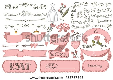 Doodles swirl border,badges,heart,ribbon,flower,love decor elements set.For design template,invitation,save date,RSVP.Hand drawing style.Wedding,Valentine ,bridal shower Vector - stock vector