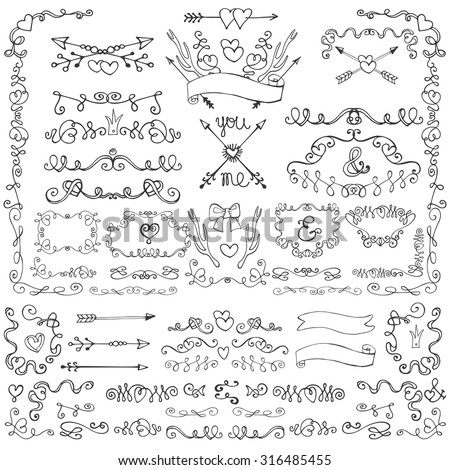 Doodles swirling heart decor.Borders,arrows,frames,ribbons,love decor element set.For wedding or Valentine day,holiday design template,invitation,menu.Hand drawing style.Easter,birthday Vintage Vector - stock vector