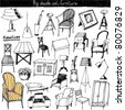 doodles vector set - furniture - stock vector