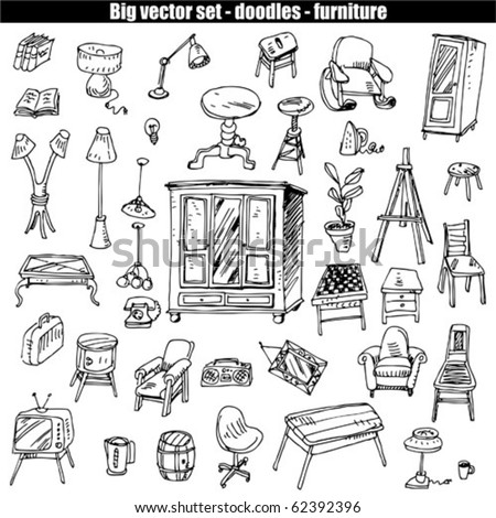 doodles vector set - furniture