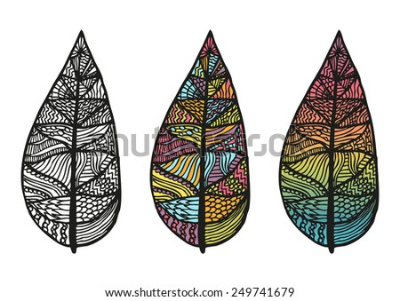 Doodling hand drawn amazing feathers with patterns, contour, colorful and rainbow, vector illustration - stock vector