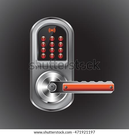 Door Handle Combination Lock Red Buttons Stock Vector 471921197 ...