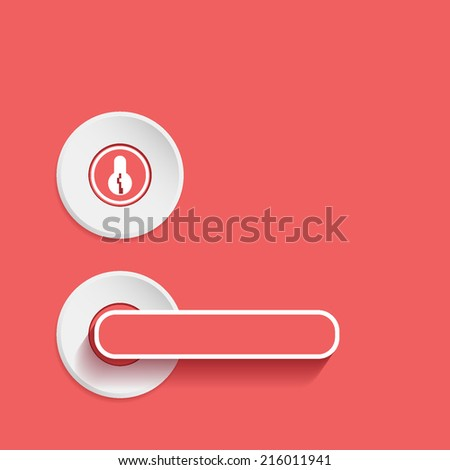 door handle, flat icon isolated on a red background for your design - stock vector