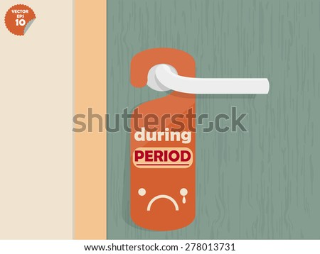 door handle hanging room tag with text shown during period,room tag design - stock vector