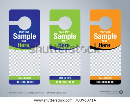 Door Hanger Design Template Hotel Knob Stock Vector - Hotel door hanger template