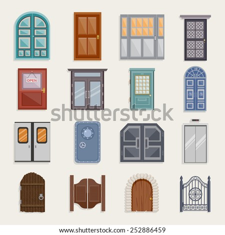Door house entrance architecture elements flat icon set isolated vector illustration - stock vector