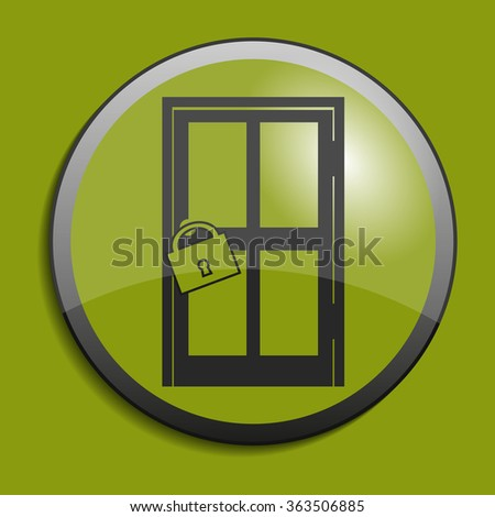 Door icon on circle button. Vector illustration