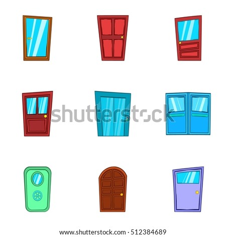 Door icons set. Cartoon illustration of 9 door vector icons for web  sc 1 st  Shutterstock & Cartoon Door Illustration Open Vector Stock Images Royalty-Free ... pezcame.com