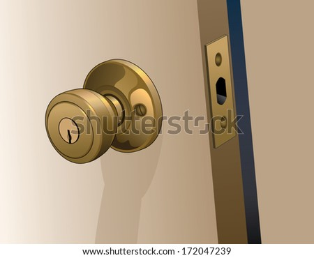 Door Knob on Door is an illustration of a doorknob in a reflective gold color with keyhole on a slightly open door. - stock vector