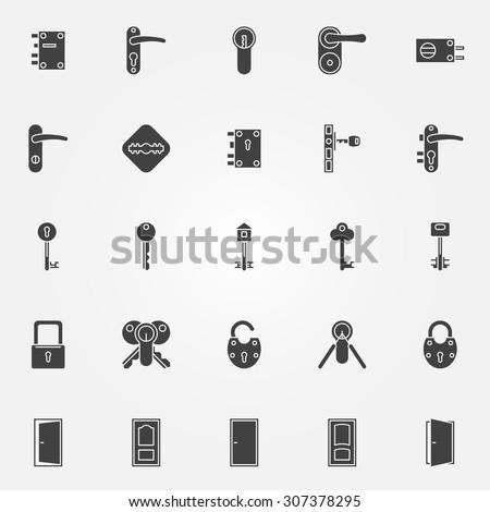 Door lock icons set - stock vector