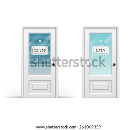 Door marked open and closed. Vector illustration - stock vector