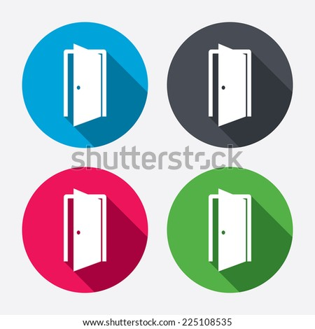Door sign icon. Enter or exit symbol. Internal door. Circle buttons with long shadow. 4 icons set. Vector - stock vector