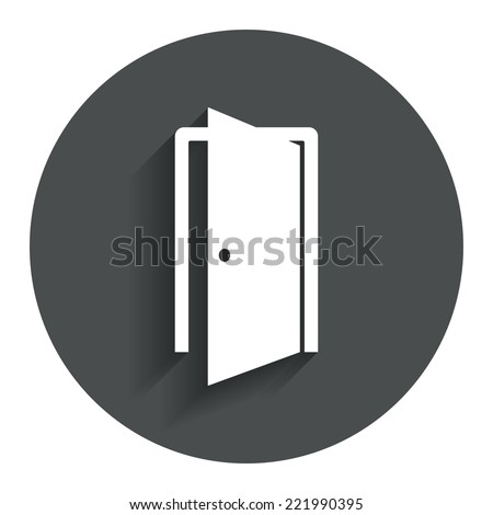 Door sign icon. Enter or exit symbol. Internal door. Circle flat button with shadow. Modern UI website navigation. Vector - stock vector