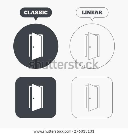 Door sign icon. Enter or exit symbol. Internal door. Classic and line web