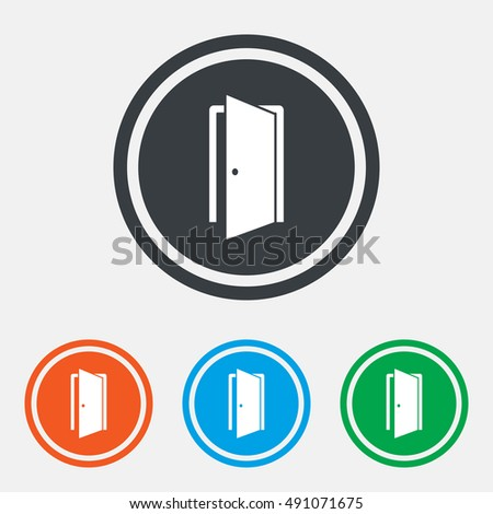 automatic door icon emergency exit arrow stock vector