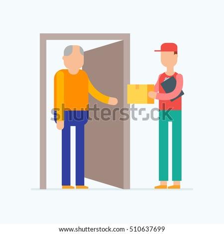 Door to door delivery vector illustration