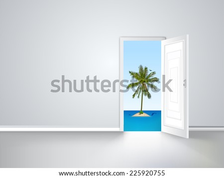 Door to island view behind an open door concept - stock vector