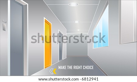 door to the bright future: make the right choice - stock vector