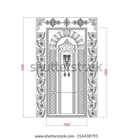 Door vector design rectangle with dimension - stock vector
