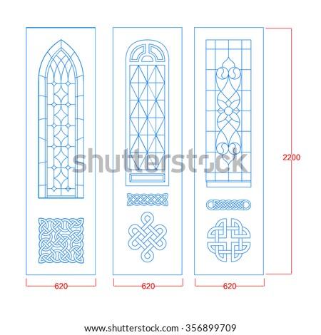 Door vintage design different models - stock vector