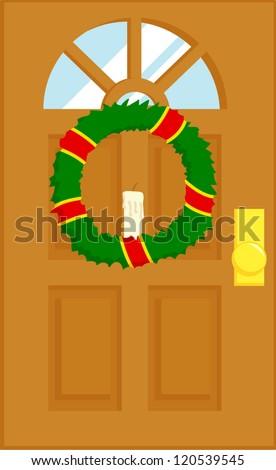 door with christmas wreath - stock vector