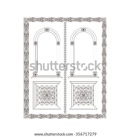 Door wood carving design double door - stock vector