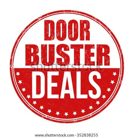 Doorbuster deals grunge rubber stamp on white background, vector illustration - stock vector