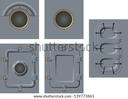 doors and windows of the ship - stock vector