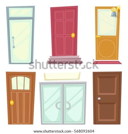 Doors icons set house cartoon design for House door pic