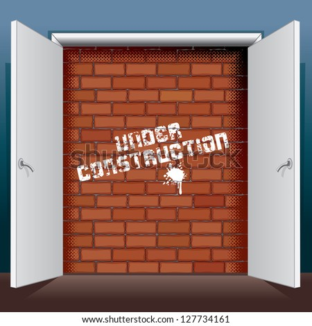 Doors Open To A Brick Wall with Inscription Under Construction. Vector Illustration - stock vector