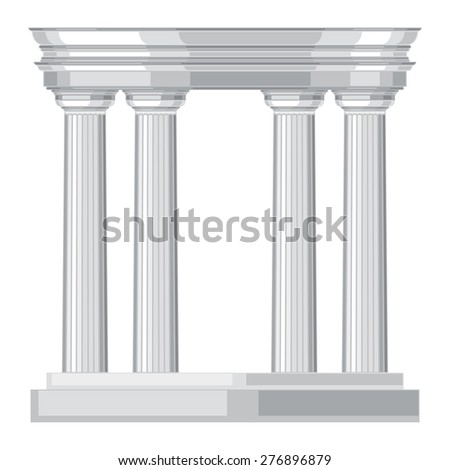Doric realistic antique greek temple with columns. - stock vector
