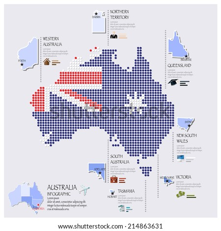 Dot And Flag Map Of Australia Infographic Design Template - stock vector