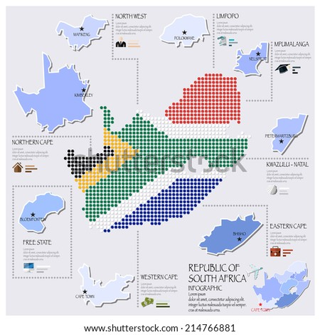 Dot And Flag Map Of South Africa Infographic Design Template
