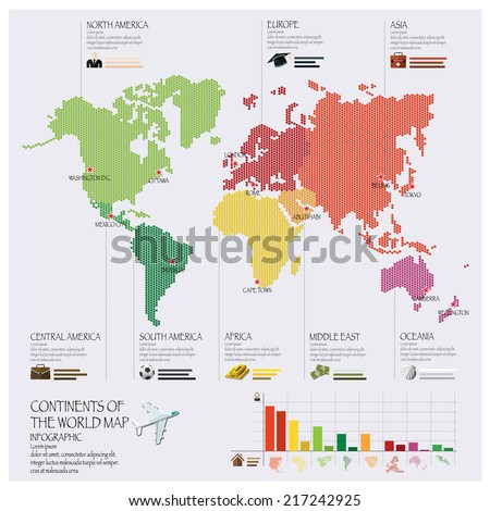 Dot Continent Of The World Map Infographic Design Template - stock vector
