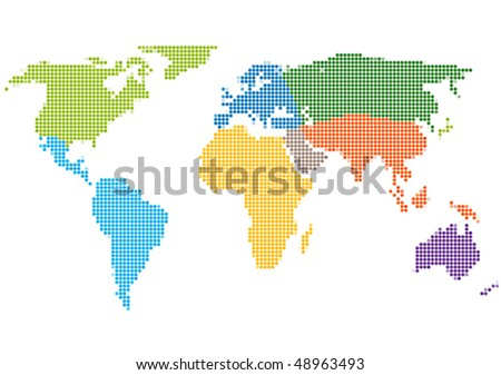 Dot Style World Map With Continents - stock vector