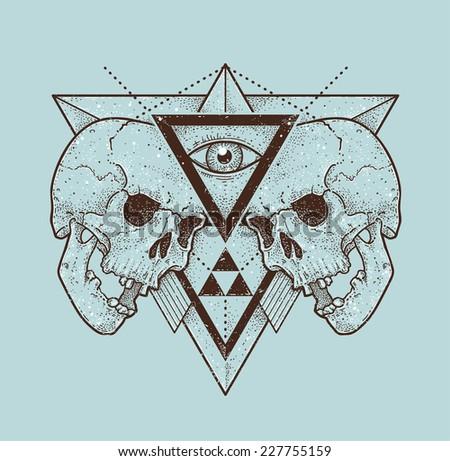 Dot work skull illustration with geometric hipster abstraction. Trendy styled monochrome print. Vector illustration.  - stock vector