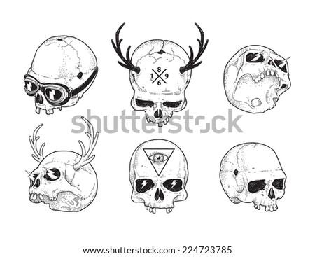Dot work styled hipster skulls set. Vector illustration.  - stock vector