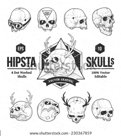 Dot work styled hipster skulls set. Vector illustration.  - stock vector